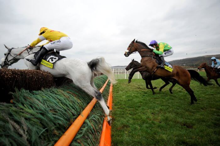 Kauto Star puts in a mighty leap behind Neptune Collonges, in the 2009 Gold Cup.