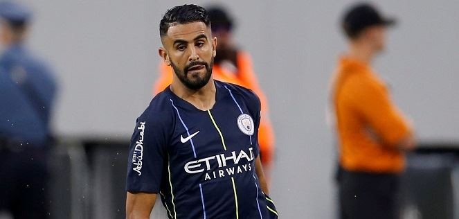 Riyad Mahrez in action for City