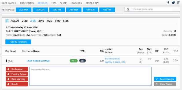 My Timeform Tracker Results Screen